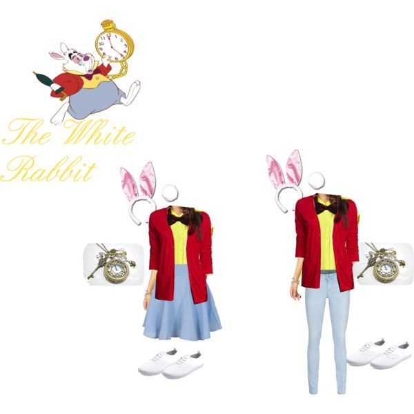 White Rabbit Costume DIY by clairebear235 on Polyvore featuring Express, Forever 21, True Religion, Charlotte Russe, Wonderland, aliceinwonderland, whiterabbit and imlateimlateforaveryimportantdate