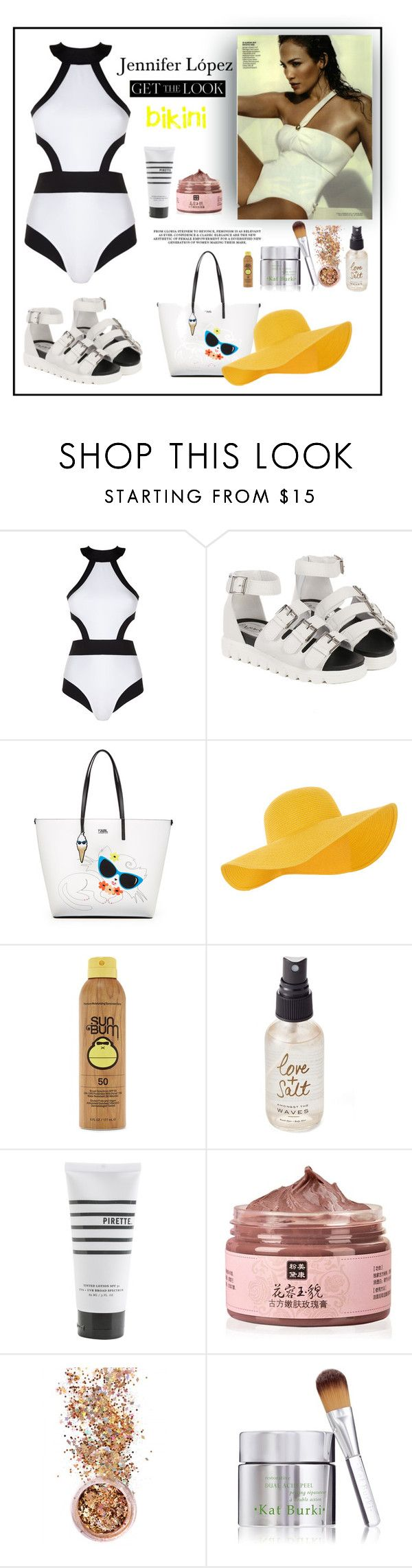 """""""Jennifer López"""" by siemprebellaquieroestar ❤ liked on Polyvore featuring Oye Swimwear, Karl Lagerfeld, Accessorize, Forever 21, Olivine, Pirette, In Your Dreams, Kat Burki, GetTheLook and Swimsuits"""
