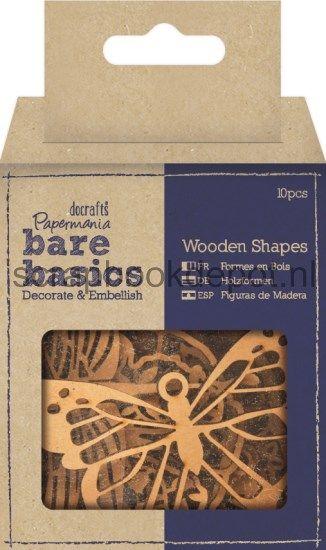 Scrapbookdepot - Papermania Bare Basics Wooden Shapes (10pk) - Florals, Butterfli