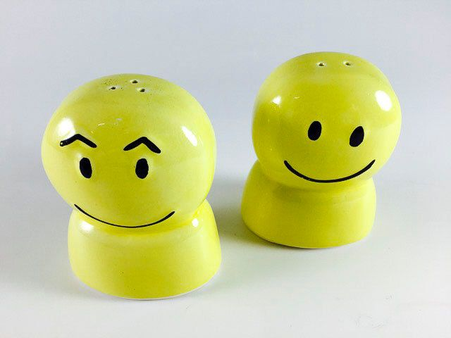 Vintage Happy Face Salt And Pepper Shakers Retro Yellow Smiley Face 1960 1970 Kitsch Kitschy Kitchen Decor (8.00 USD) by LivingAVntgLife
