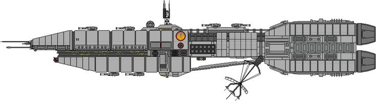 Colonial Gunstar Cruiser 8 Heavy Dual Barrel KEW Turrets (4 Centerline Dorsal, 2 Centerline Ventral, 1 Port/Starboard) 32 Anti-Aerospace KEW Turrets (16 Port/Starboard) 24 Anti-Ship Missiles (12 Po...