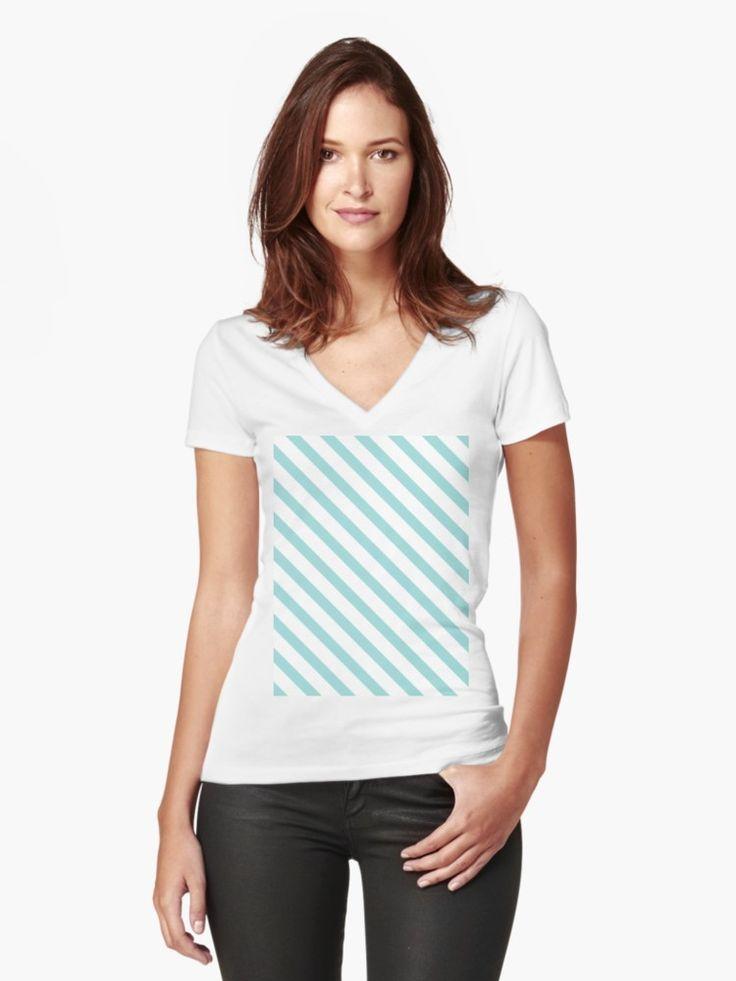 Turquoise Light Blue Stripes   Fitted V-Neck T-Shirt