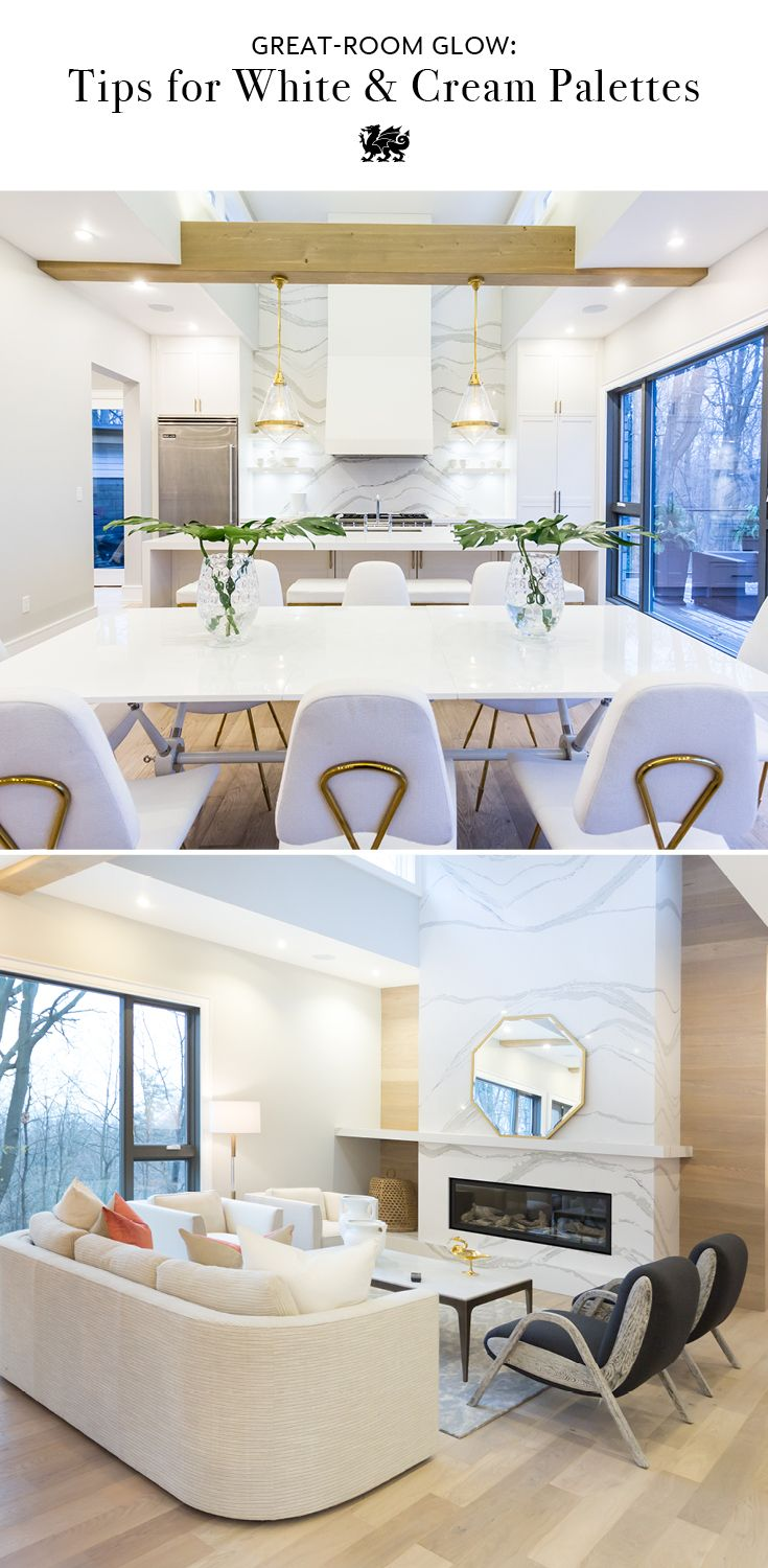 The all-white room is refined and relaxing, but you have to choose the right materials and shades of white to ensure your space feels warm and inviting like this great room by Bryan Baeumler. Add layers of interest, such as the bold movement of Brittanicca in a kitchen backsplash or fireplace surround. And investing in high quality materials like Cambria quartz, like this White Cliff kitchen island, ensures your white countertops will stay beautiful and clean without any maintenance…