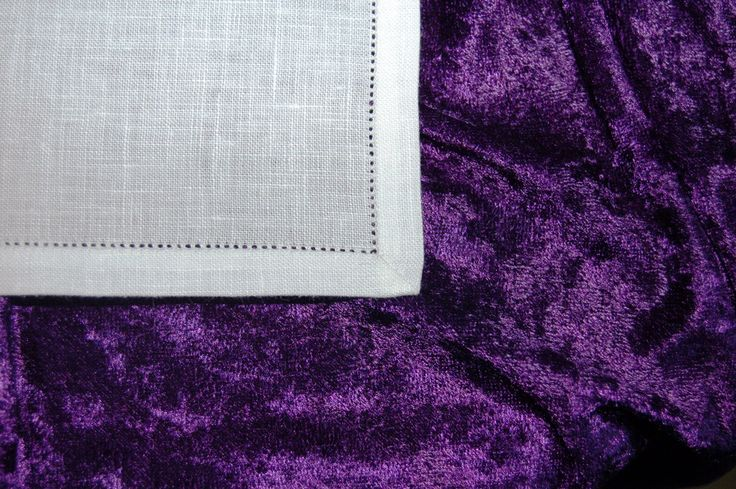 Close-up of corner of purificator; 100% linen; hemstitched; mitered corner; 8.3.17