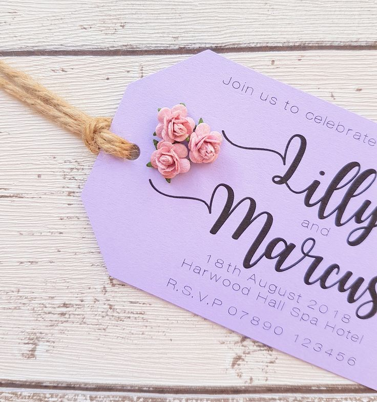 Lavender / Lilac Luggage Tag Wedding Invitation, Paper Rose Embellishement. Pink, Peach, Cream or Blue. Simple Rustic Style. Sample. by SomethingBlueByZara on Etsy