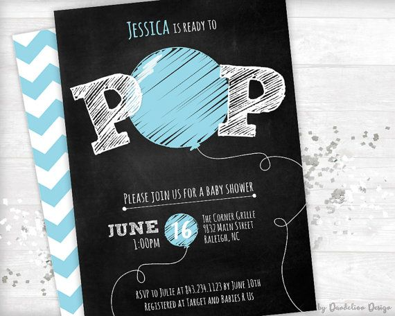 Ready to Pop Baby Shower Invitation plus by bydandeliondesign