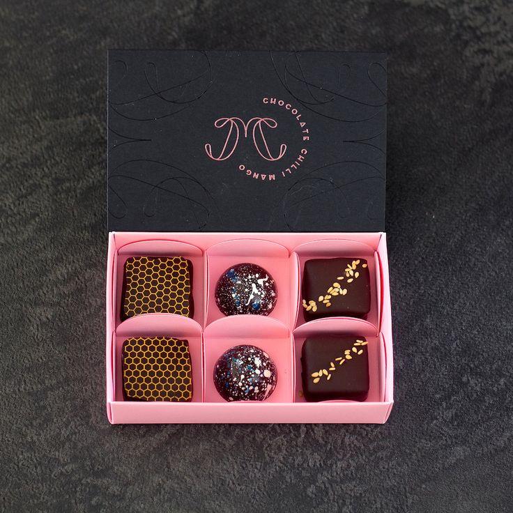 Luxe Collection - June 2017  |  Chocolate Chilli Mango  Honey Bourbon, Sea Salt Caramel, Sesame Praline  #ChocolateChilliMango #Valrhona #ChocolatWeiss #chocolate #bonbons #chocolatier