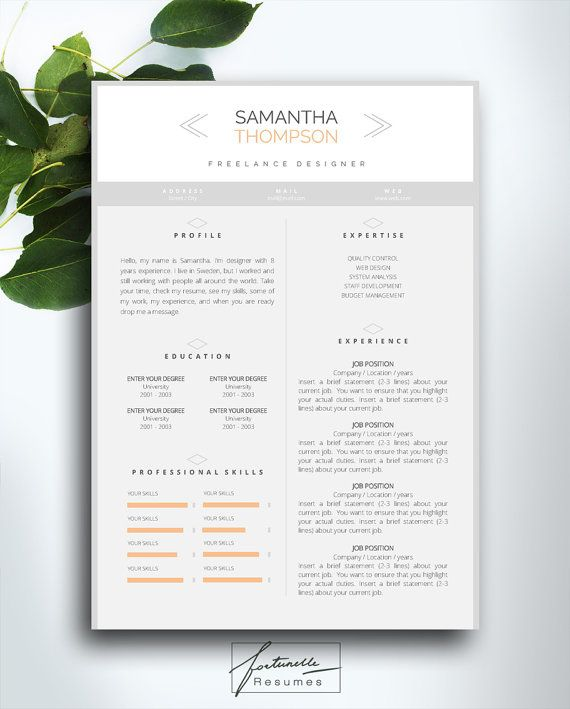 resume template page cover letter instant download ms word templates