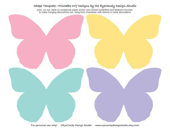 Printable Tea Pot & Butterfly Templates by EyeCandyDesignStudio