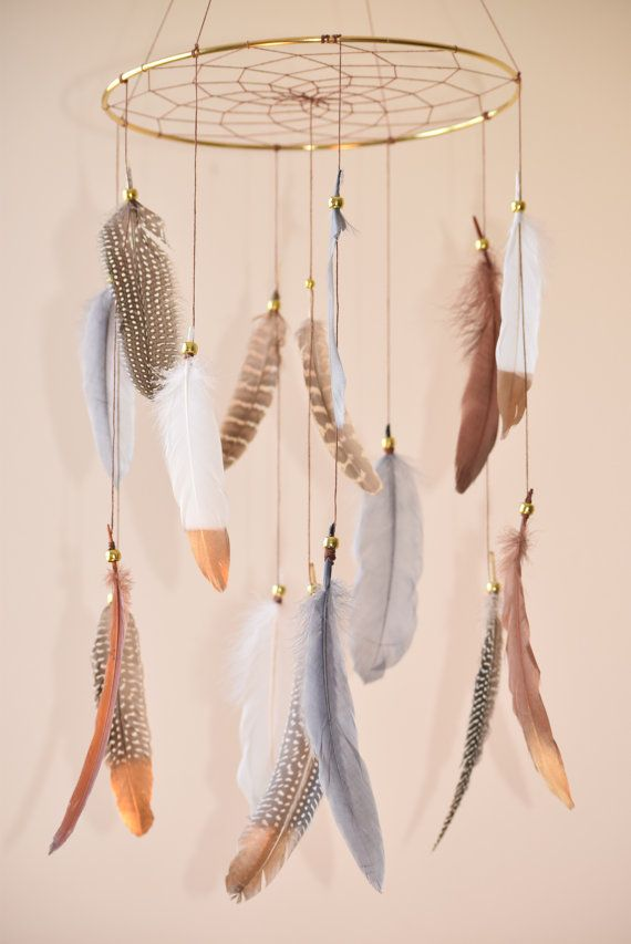 Woodland Nursery Decor, Dreamcatcher Mobile, Native American Style,  Feathers Mobile, Woodland Mobile, Tribal Decor, Natural Feathers.