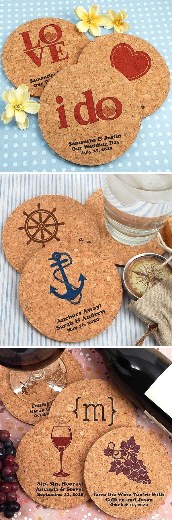 These all natural, reusable drink coasters make affordable wedding takeaways guest can use every day at home or work.