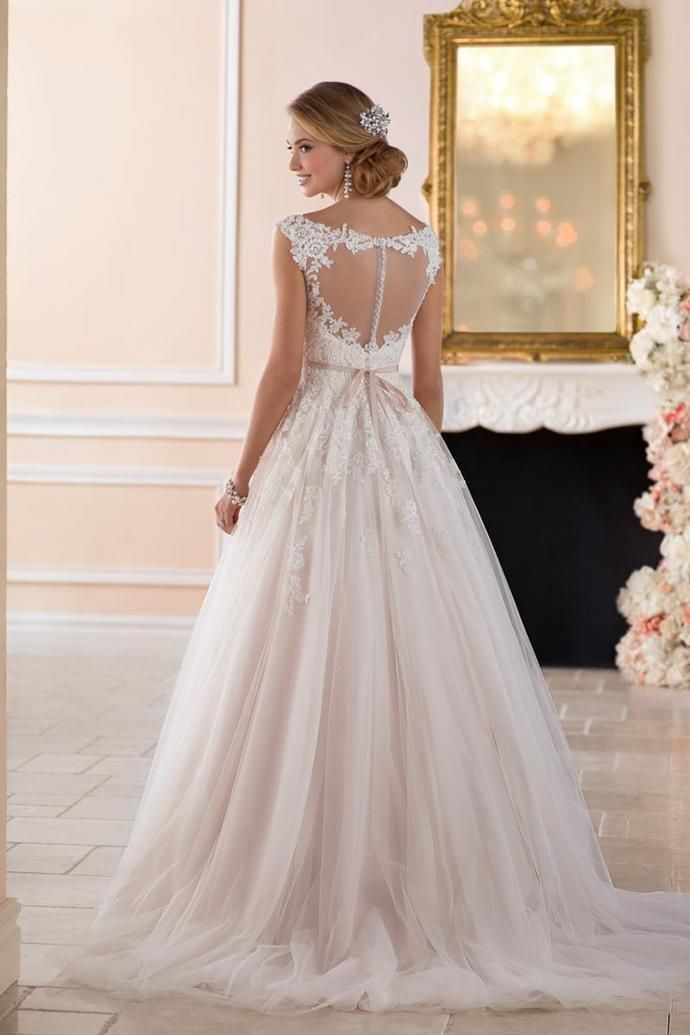 Unique Pink Lace A-Line Wedding Dress,Sleeveless V-Neck Bridal Dress,Tulle See Through Back Wedding Bridal Gown
