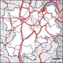 Maillage et treillage en Rhône-Alpes: carte géographique gratuite, carte géographique muette gratuite, carte vierge gratuite, fond de carte gratuit : frontières, hydrographie, routes principales (blanc)