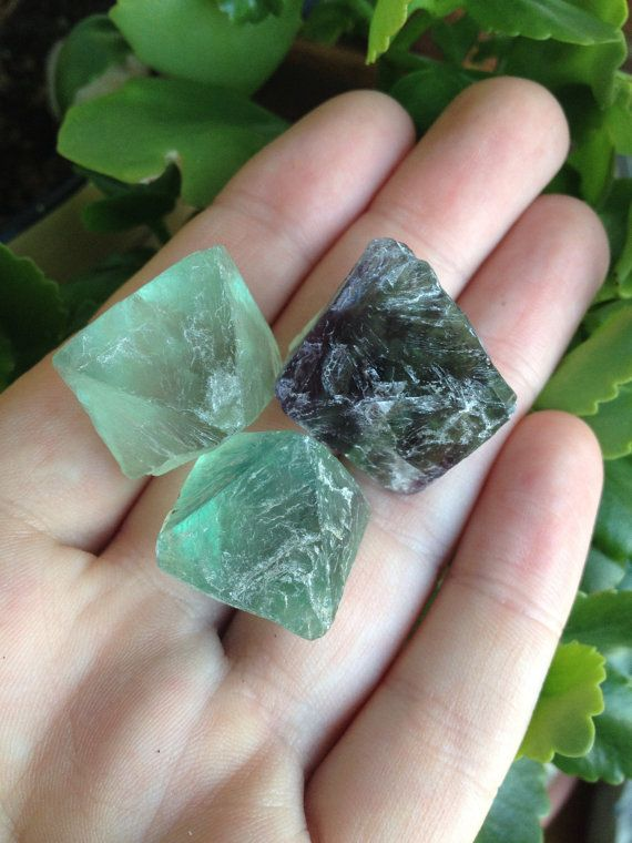 Set of 3 Healing Raw Fluorite Octagons Perfect by TempleAdornment, $24.00