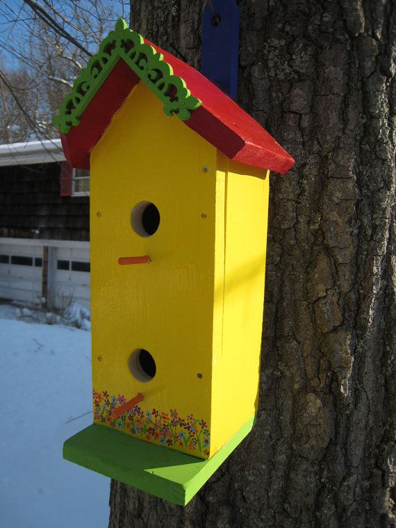 Birdhouse Outdoor Large Painted Whimsical Handmade Wooden Two-Story B ...