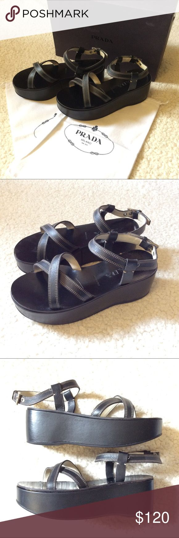 🌺 Prada Platform Sandals 🌺 Super cute Prada Platform sandals. Very comfortable. Wear with jeans or a dress! You can't go wrong! Some minor imperfections. Comes with dust bag and original box. Prada Shoes Sandals
