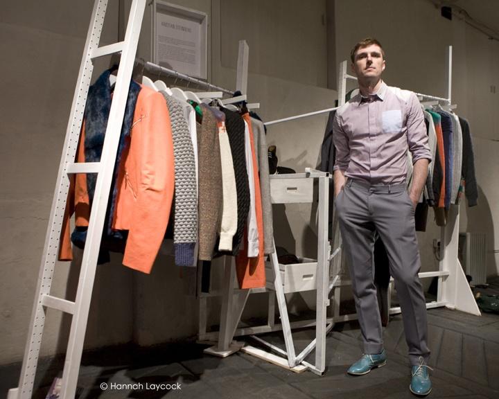 Winner of the International Fashion Showcase 2013 by British Council and British Fashion Council. Creative Director Helen Sirp. Menswear designer Kristian Steinberg. Photo Credit Hannah Laycock.