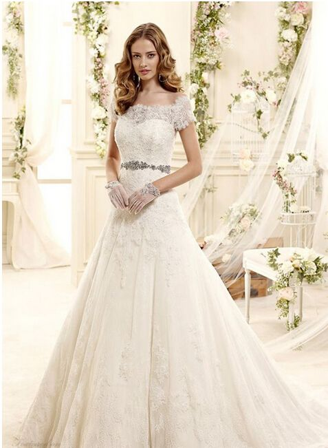 Colet Bridal 2015 Style 28 Off The Shoulder Short Sleeves A Line Lace Wedding Dress Dresses