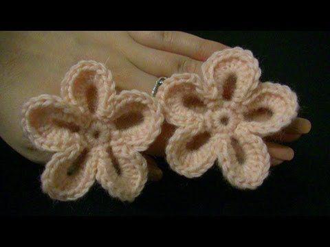 Blume häkeln - einfach und schnell - 6 Blätter - 3D Blume - YouTube
