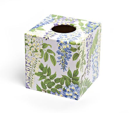 Silver Wisteria Tissue Box from Crackpots Tissue boxes and Bins