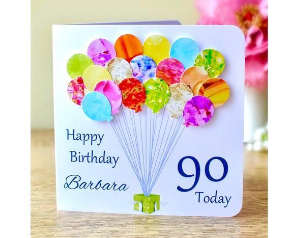 90th Birthday Card Personalised Age 90 Birthday Balloons Card Handmade Custom Personalised Mum Dad Aunty Grandma Colourful Bhb90 90th Birthday Cards Handmade Birthday Cards Birthday Cards