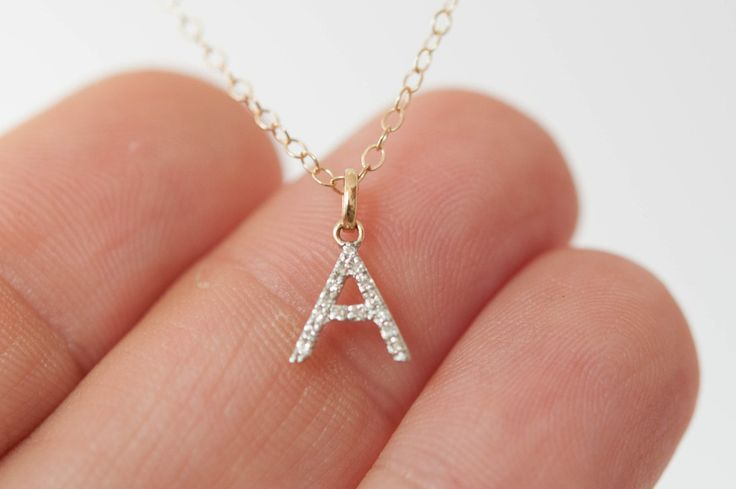 14k solid gold Diamond Initial Necklace A-Z Tiny initial necklace personalized gift idea by Vivien Frank Designs