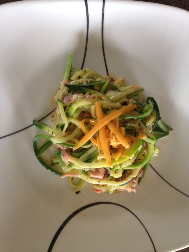 Zucchini noodles with epicure herb and garlic. And 3 onion.  1- onion  1- tomato 2- mushrooms 2 cups ham.  Cook in a wok with butter. And enjoy