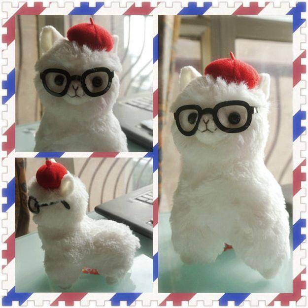 beret and glasses wearing alpaca plush