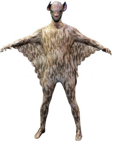 Originele morphsuit vleermuis. De morphsuits zijn gemaakt van stretch lycra, waardoor het zich naadloos aanpast aan ieder figuur. Deze morphsuit heeft de print van een vleermuis vampier. U kunt door het pak heen kijken, ademen en drinken! De morphsuits hebben op de achterkant een ritssluiting.