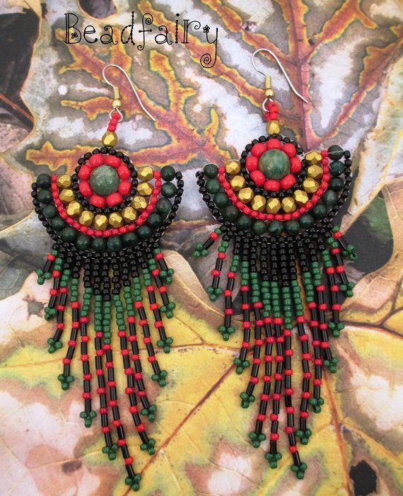 Forest Green Earrings by BeadfairyStore on Etsy