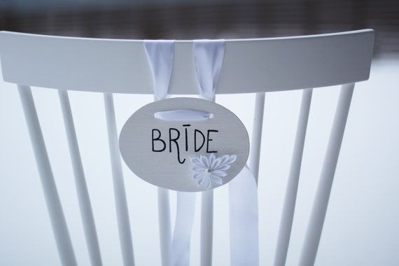 Wedding Chair Signs Bride and Groom chair signs by AlookFlowers