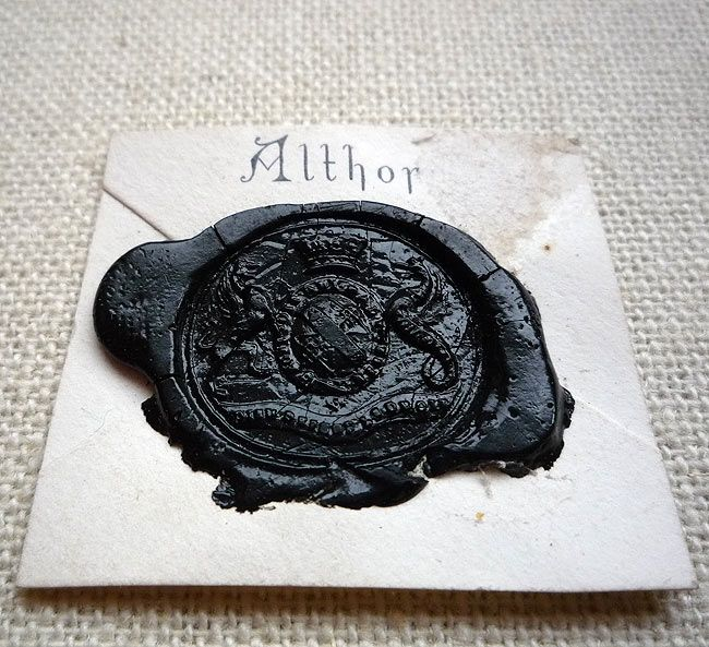 Althorp wax seal ~ As this seal is in black, it would indicate that the sender was either in mourning or to pronounce a death. Althorp is the family seat of the Spencer family or better known as the ancestral home and now burial place of Princess Diana. Seal dates from mid 1800's and is part of my collection #waxseal #princess