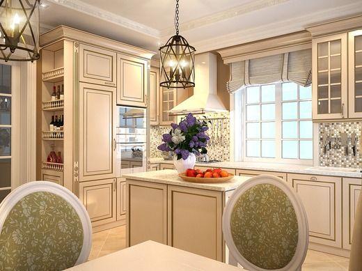 Частный дом в стиле неоклассика. Кухня