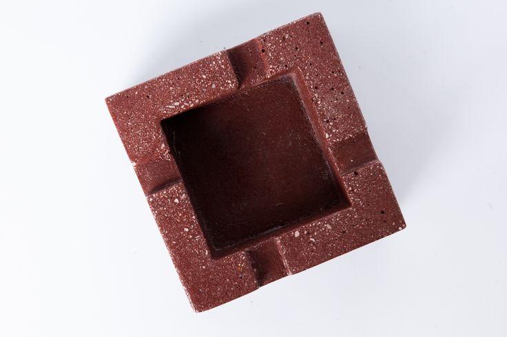 #concrete #red #ashtray #handmade #beton #greece #greymatters www.greymatters.gr