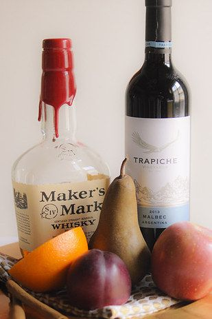 Fall sangria: whiskey + red wine + fruit
