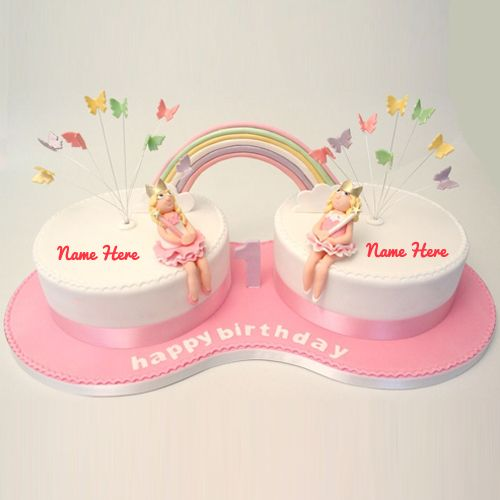 Awe Inspiring Birthday Cake For Twins With Name The Cake Boutique Funny Birthday Cards Online Overcheapnameinfo