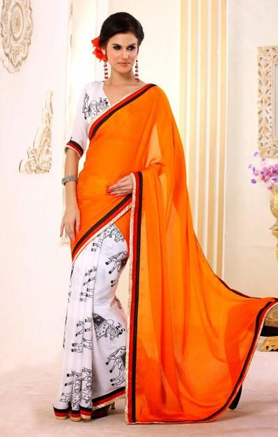 USD 41.41 Orange and White Printed Party Wear Saree  30620