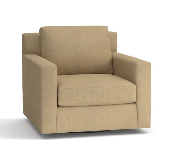York Square Arm Upholstered Swivel Armchair