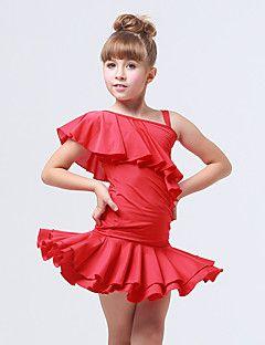 Dansetøj til børn Dragter Børne Træning Spandex / Polyester Ruched / Flæs 2 Dele Ærmeløs Skjørte / Top – DKK kr. 714