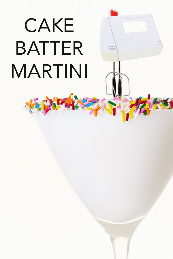 Forget licking the bowl...you can now drink the batter with this sweet and scrumptious Cake Batter Martini recipe. #BiteMeMore #martini #recipes