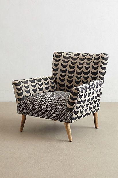 Big Black & White Armchair - anthropologie idée de tissus pour refaire un siège: