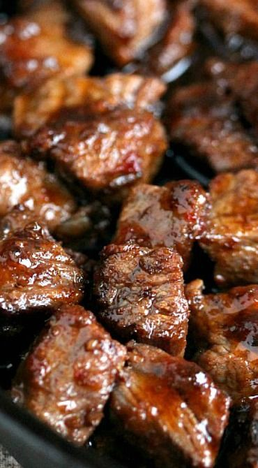 Steak Bites (best Southern recipes)    For the Steak Bites:  1 and ½ pounds of steak, personally I like striploin (I'm not a sirloin fan)4 tablespoons butter, more or less to taste Salt and pepper to taste1 to 2 tablespoons roasted garlic and pepper rub marinade Preheat the grill to a medium heat!