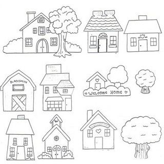 House appliqué patterns... Would be cute for embroidery :)