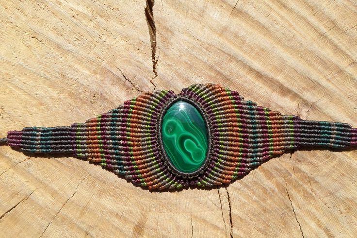 malachite bracelet,macrame bracelet,malachite jewelry,cabochon bracelet,colorful bracelet,wide bracelet,gemstone bracelet,gift for her by ARTEAMANOetsy on Etsy