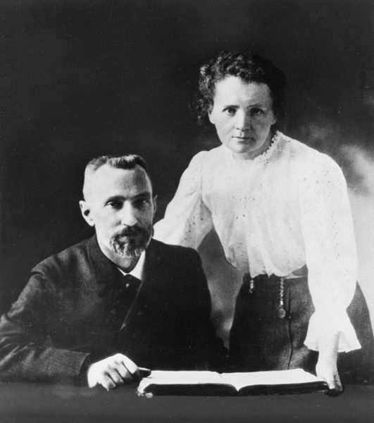 Pierre and Marie Curie In the photographs that survive, their faces have a studied and studious look, their minds more on their experiments than on one another. In 1898, they discovered the elements radium and polonium – their remarkable work as radiology pioneers won them a joint Nobel prize in 1903. Today, their names are carved on a crypt in the Pantheon in Paris. They passed on the scientific gene: their children and grandchildren became distinguished scientists too.