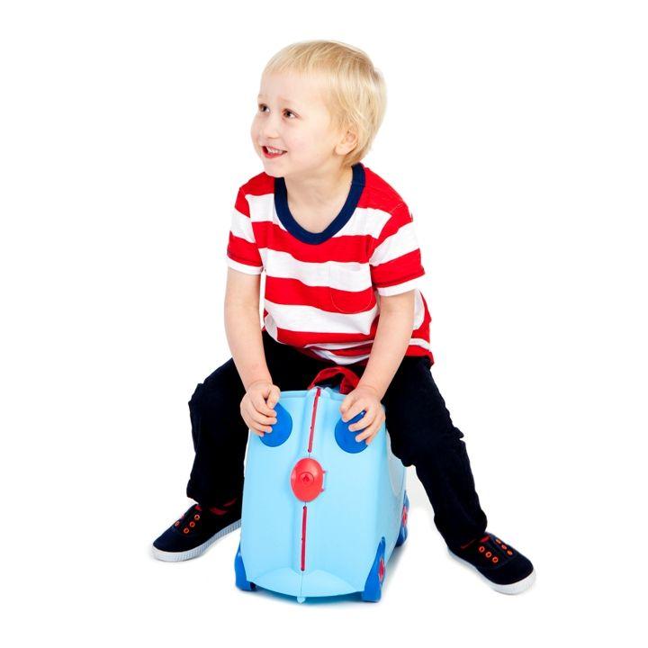 Trunki Binilebilen ve Sürülebilen Çocuk Bavulu Açık Mavi - George #çocukbavulu #bavul #trunki