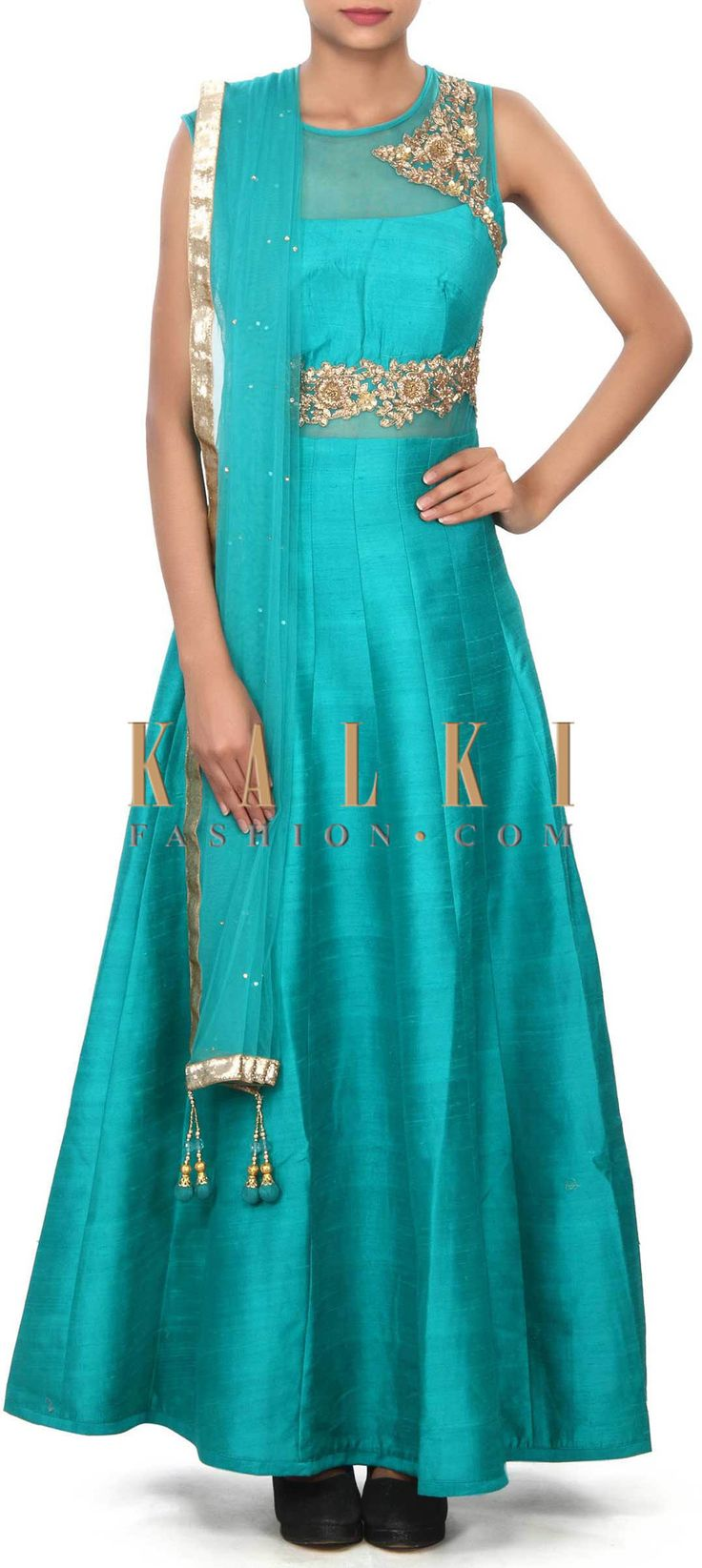 Buy Online from the link below. We ship worldwide (Free Shipping over US$100) Price- $249 Click Anywhere to Tag http://www.kalkifashion.com/green-anarkali-suit-adorn-in-zardosi-and-sequin-embroidery-only-on-kalki.html