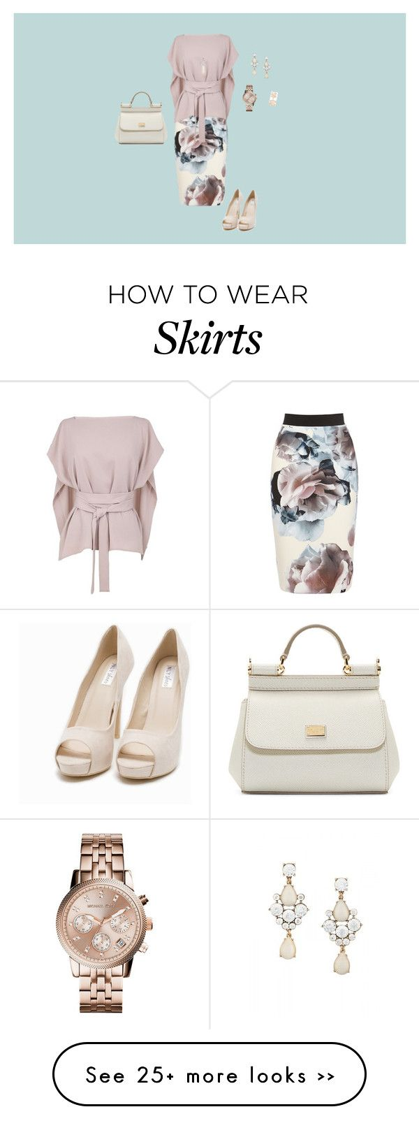 """How to wear a printed skirt"" by scarlett1272 on Polyvore featuring TIBI, Michael Kors, Repossi, kiz&Co., Dolce&Gabbana and Nly Shoes"