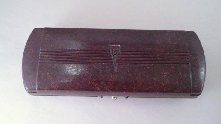 Vintage Brown Mottled Bakelite Welch Allyn Otoscope Case - Steampunk - Medical