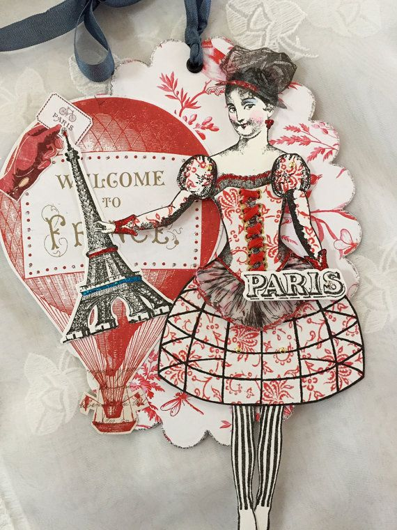 Paper doll construction assembled by Paris Pluie working with art stamps from Character Constructions Paris Flea collection.
